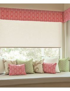 Kick Pleat Fabric Valance in 14946 Labyrinth/ Fuchsia Layered over Classic Roller Shades in 14056 Zen/ Ivory