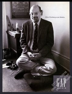 1994 Allen Ginsberg photo The Gap fashion clothes store vintage print ad