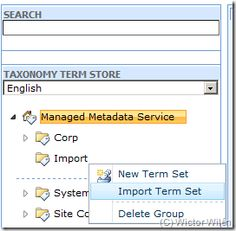 Migrating Managed Metadata Term Stores in SharePoint Server across Farms  While moving a site from development environment to production environment, it is recommended to move MMS term stores too. We can actually adopt two approaches to this:  1. Export Term Stores in a .csv file and then Import them to target server. 2. Use a powershell script to create a .cab file to import on target server.  http://www.sharepoint-zone.com/2014/01/importing-and-exporting-managed.html