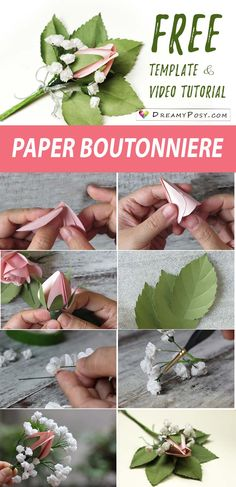 Paper boutonniere you definitely could DIY. So easy, free template, step by step tutorial. #paperflower #paperflowers #paperboutonniere