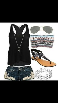 Hipster outfit : black tank top , dark wash denim shorts with lace , brown and black sandals , silver bracelet  and light black aviators