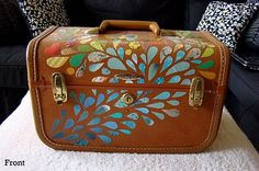 One Of A Kind Vintage Train Case (handcut Decoupage Collage)
