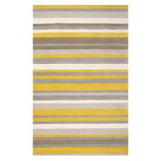 Yellow/grey stripe rug!  Pretty!  Too busy for my living room though?  Maybe.