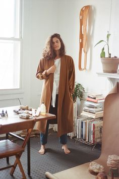 Datura Blog - LEXIE SMITH wearing our Rust Kimono Robe in a Cashmere/ Wool blend