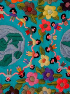 """Textile with Children Holding Hands, Lake Atitlan, Western Highlands, Guatemala"" 