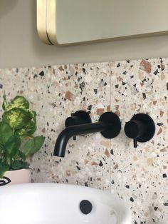 Terrazzo Flooring, Bathroom Flooring, Bathroom Fitters, Mandarin Stone, Bath Panel, Large Format Tile, Black Shower, Outdoor Tiles, Shower Screen