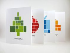 Cubist business greeting cards for Christmas