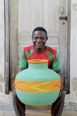"Jemima 10 Cows Decor Basket by Kofi ""Ligali"" Abentara Cow Decor, Basket Decoration, Decorative Storage, Storage Baskets, African, The Incredibles, Cows, Handmade, Crafts"