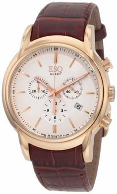 ESQ Movado Men's 07301401 Quest Rose Gold-Tone Watch ESQ by Movado. $495.00. Rose gold plated case. Brown calfskin strap. Silver chronograph three hand dial. Deployment-buckle. Swiss-Quartz