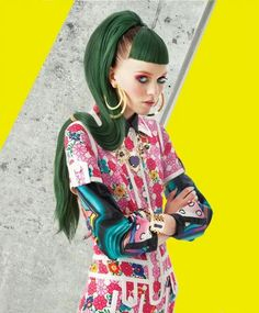 Heavenly Hair: woman in colorful top, yellow background, green hair