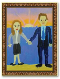 Michael Scott's painting of Jim and Pam