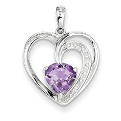 14k White Gold Diamond and Amethyst Heart Pendant