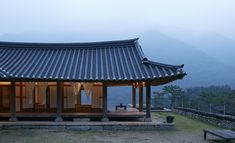 At AWON Museum & Hotel, centuries-old hanok, contemporary architecture, art and design all combine against the backdrop of Jongnamsan mountain in a remote and peaceful village Japan Architecture, Contemporary Architecture, Villa Design, House Design, Gazebo, Pergola, Japanese Style House, Hut House, Museum Hotel