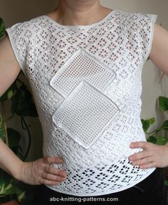 ABC Knitting Patterns - Lace Summer Top with Filet Inserts
