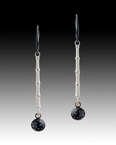 Bamboo & Night Pebble Earrings