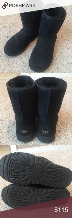 Authentic Classic black Ugg Boots, sz US 5 EU 36 Authentic Classic black suede Ugg short Boots purchased at Nordstrom Big Girl/women's size US 5, EU 36 **fit my 12 year old daughter** Excellent condition UGG Shoes Winter & Rain Boots