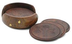 Helpers Forever - #Buy #Wholesale #Handmade #Wooden Set of 6 #Round #Coasters & #Holder In Retro Look