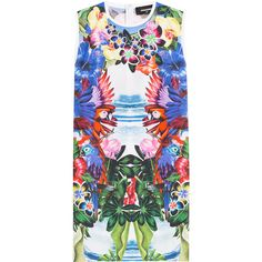 Dsquared2 Mirrored Print Cotton Dress ($270) ❤ liked on Polyvore featuring dresses, florals, mirror dress, white floral print dress, floral print dress, white dress and bright dresses