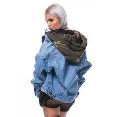 Camo Denim Jacket ($240) ❤ liked on Polyvore featuring outerwear, jackets, blue jackets, oversized jacket, blue jean jacket, camouflage jacket and camoflauge jacket