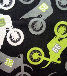 Snuggle Flannel Fabric- Dirtbikes for boy