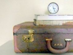 Vintage Suitcase Tweed Cloth and Leather Stacking Luggage by ClementinesCupboard on Etsy