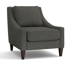 Aiden Upholstered Armchair, Polyester Wrapped Cushions, Performance Tweed Slate
