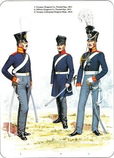PRUSSIA - Cavalry of the Napoleonic Wars (2) 1807-1815 1-Trooper, Dragoon Normal squadron 1811 2-Officer, Dragoon 1811 3-Trooper,Lithuanian Dragoon Regt 1813