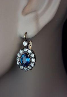 Vintage Sapphire Earrings | Sapphire Diamond Earrings C. - Antique Jewelry | Vintage Rings | Faberge Eggs
