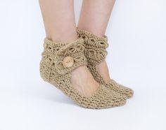 Women Leg Warmers In Beige, Crochet Slippers From Alpaca Wool. $24.00, via Etsy.