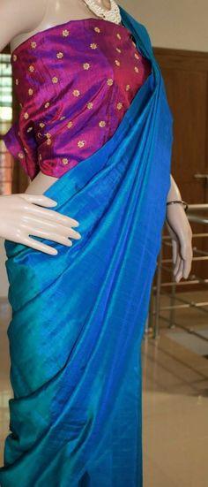 Semi raw silk sarees with designer embroidered blouse. Order what's app 7995736811 Raw Silk Saree, Silk Sarees, Saree Fashion, Indian Fashion, Abaya Style, Saree Styles, Embroidered Blouse, Indian Designer Wear, Indian Outfits