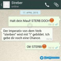 Lustige WhatsApp Bilder und Chat Fails 115 - Imperativ von sterben