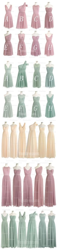 Wow!! So many styles!! Ilove the colors!! Long/short mismatched bridesmaid dresses. Cheap wedding party dresses. Chiffon dresses for maids of honor.: