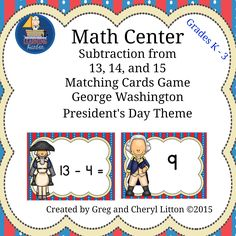 Perfect for math centers or stations, small groups, or rotations,this resource of subtraction matching games with a George Wasington Theme will be a hit with your students. Created by Greg and Cheryl Litton of Learning Harbor Resources on Teachers Pay Teachers.