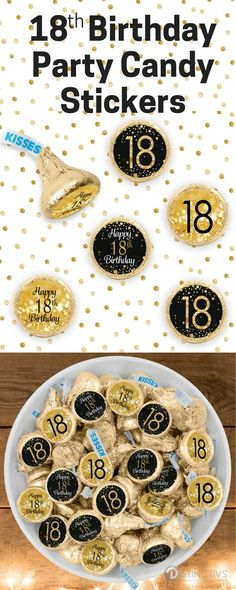 These Black and Gold 18thBirthday party favor stickersare the perfect final detail to add to your upcoming party.