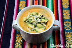 Recipe for locro de papa or potato soup, a traditional Ecuadorian soup made with potatoes, onion, garlic, cumin, achiote or annatto, milk, cheese and cilantro.