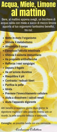 Hot water, Honey and Lemon: what happens to the body by taking .- Acqua calda, Miele e Limone: cosa succede al corpo assumendola ogni giorno remedies - Healthy Cooking, Healthy Life, Healthy Living, Health Diet, Health And Wellness, Health Fitness, Alkaline Foods, Things To Know, Beauty Care