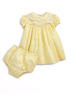 Ralph Lauren Layette's Embroidered Dress & Bloomers Set