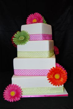 - Display cake with real ribbon and artificial flowers