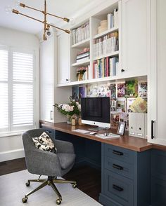 Office Design : Home Office Design Trends 2015 Home Office Design Layout Free Home Office Design Ideas For Two Pretty Sure This Is My Dream Office Love The Dark Blue Gray Lower Desk Cabinets Wood Top And White Uppers Office Home Design. Home Office Design Home Office Space, Home Office Design, Home Office Decor, Home Design, Interior Design, Home Decor, Office Designs, Office Room Ideas, Room Interior