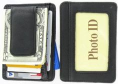 #5: 910EB Fine Leather Hand Crafted Mans Man's Mens Men's Mini Wallet ID Credit Card Holder with Megnetic Money Clip.