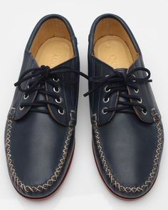 Maliseet oxford from Quoddy. Featured in chromexcel navy, with brick camp sole, manila lining, nickel eyelets, navy laces, natural handsewing and cross stitched tips. $275