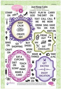 "6"" x 8"" Clear Stamp set which will allow you to design your own Keep Calm, Freak Out or get excited papercarfting designs.  64 Stamps in this set."