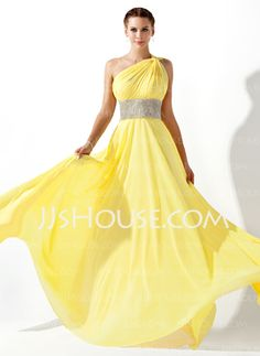 Empire One-Shoulder Floor-Length Chiffon Prom Dress With Ruffle Beading (018020583) - JJsHouse