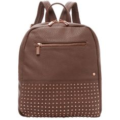 Deux Lux Westside Studded Backpack ($69) ❤ liked on Polyvore featuring bags, backpacks, red, studded faux leather backpack, deux lux bags, deux lux, top handle bag and brown backpack