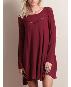 6c910e8736613 Red Polyester Shift Long Sleeve Plain Short Sexy Dress Long Sleeve Mini  Dress, Street Chic