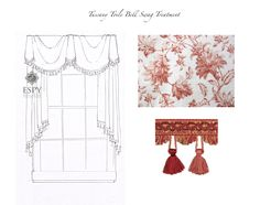 Tuscany Toile Bell Swag, a delightful bell and simple swag to show off the print of the fabric. Proportions can be modified to suite your window. Other fabrics are available.