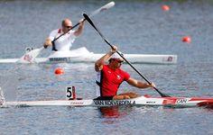 Adam van Koeverden, Canada, competes in the men's K-1 1000m sprint heats