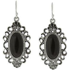 1928 Silver-tone Simulated Cat Eye Oval Filigree Drop Earrings ($11) ❤ liked on Polyvore featuring jewelry, earrings, black, fake earrings, dangle earrings, long dangle earrings, cats eye earrings and filigree earrings