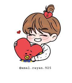 Fanart Bts, Taehyung Fanart, Bts Taehyung, V Chibi, Cute Chibi, Kpop Drawings, Kawaii Drawings, Animes Wallpapers, Cute Wallpapers