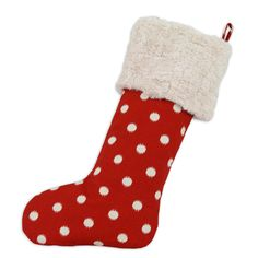Red with White Polka Dots Christmas Stocking